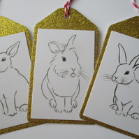 Christmas Gift Tag Bunny Rabbit Line Drawing Gold Glitter x 3