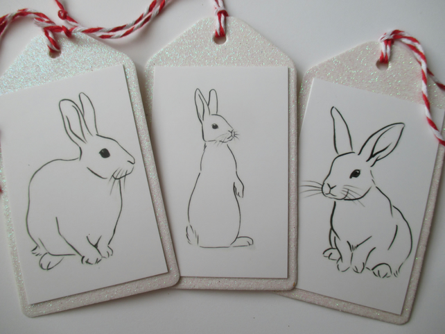 Line Drawing Xmas : Christmas gift tag bunny rabbit line drawing wh folksy