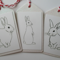 Christmas Gift Tag Bunny Rabbit Line Drawing White Glitter x 3