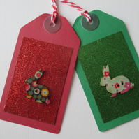 Gift Tag Christmas Bunny Rabbit Button Gift Tag Glitter Red Gold Green
