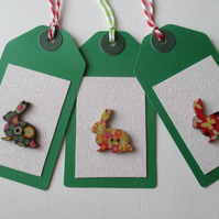 Gift Tag x 3 Christmas Bunny Rabbit Button Gift Tag Glitter Red Gold Green