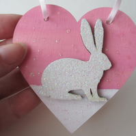 Christmas Decoration Bunny Rabbit Hanging Heart Snow Bunny Pink White