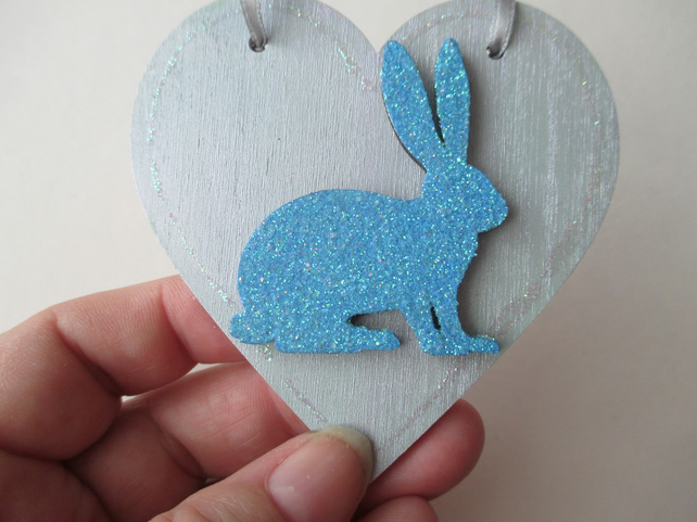 Christmas Decoration Bunny Rabbit Hanging Heart Snow Bunny Silver Blue