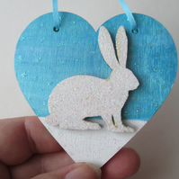 Christmas Decoration Bunny Rabbit Hanging Heart Snow Bunny White Blue