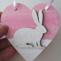 Christmas Decoration Bunny Rabbit Hanging Heart Snow Bunny White Pink