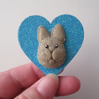 Bunny Rabbit Love Heart Fridge Magnet Wood Wooden Glittery Bow Blue Gold