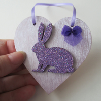 Bunny Rabbit Love Heart Hanging Decoration Purple Lilac Wood Wooden Glittery