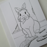 Bunny Rabbit Black & White Monochrome Blank Greetings Card Illustration