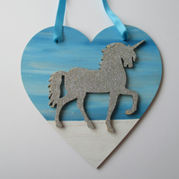 Unicorn Love Heart Hanging Decoration Blue Snow White Twinkly Glittery Wood