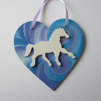 Horse Pony Unicorn Love Heart Hanging Decoration White Twinkly Glittery Wood