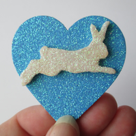 Bunny Rabbit Love Heart Fridge Magnet Wood Wooden Glittery Bow Blue White