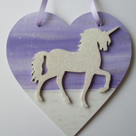 Unicorn Love Heart Hanging Decoration Purple Lilac White Twinkly Glittery Wood