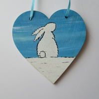 Snow Bunny Christmas Tree Hanging Decoration Snowbunny Rabbit White Hand Painted