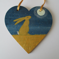 Bunny Rabbit Hanging Decoration Hand Painted Wooden Heart Golden Hare Bunny 005