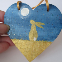 Bunny Rabbit Hanging Decoration Hand Painted Wooden Heart Golden Hare Bunny 004
