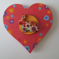 Bunny Rabbit Magnet Hand Painted Wooden Heart Animal Bunny Button Flowers