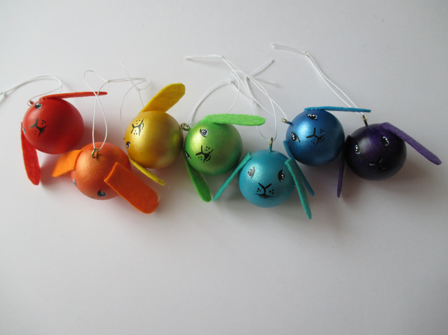 Sale Rainbow Bunny Rabbit Baubles Hanging Decorations Christmas Tree Memorial