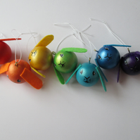 Rainbow of Bunny Rabbit Baubles Hanging Decorations Christmas Tree or Memorial