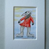 Ice Skater Skating Bunny Rabbit Dancer Dancing ACEO original painting in mount