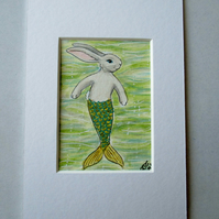 Merbunny Mermaid Bunny Rabbit ACEO original miniature painting in mount
