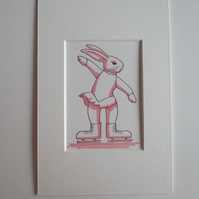 Ice Skating Dancing Bunny Rabbit ACEO original miniature painting in mount