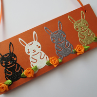 Bunny Rabbit Wooden hanging Decoration Easter Bunny Glitter Rabbit Gift Plaque