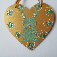 Bunny Rabbit Love Heart Hanging Decorations Valentine Day Gift Flower Gold