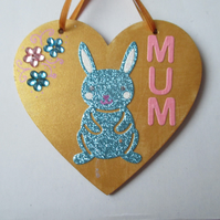 Bunny Rabbit Love Heart Hanging Decorations Mother'sDay Gift Flower Mum