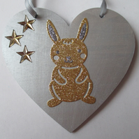 Bunny Rabbit Love Heart Hanging Decorations Valentine Day Gift Gold Stars