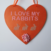 Bunny Rabbit Love Heart Hanging Decorations Bunnies