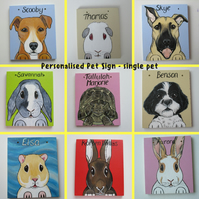 Personalised Pet Sign customised rabbits guinea pigs cats dogs sml top holes P