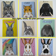 Personalised Pet Name Sign for shed hutch etc Small Side Holes Portrait