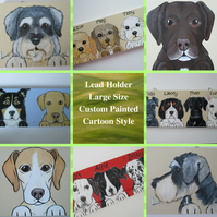Large Lead Hanger Dog Collar Lead Hand Painted Pet Portrait Personalised