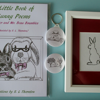 Gift Set Bunny Poetry Poems Book Original Rabbit Painting Badge Keyring