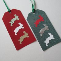 Gift Tag x 2 Bunny Rabbit Christmas Present Gold Green Red White Silver