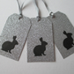 Gift Tag x 3 Bunny Rabbit Christmas Present Silver Glitter black