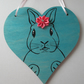 Bunny Rabbit Wooden Hanging Heart Decoration Painting Flower Picture