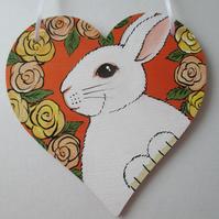 SALE Bunny Rabbit Wooden Hanging Heart Decoration Painting Flower Picture Rose