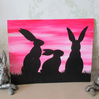 SALE Bunny Rabbit Silhouette Painting Original Art Picture Black Sunset Sky