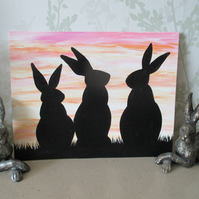 Bunny Rabbit Silhouette Painting Original Art Picture Black Sunset Sky