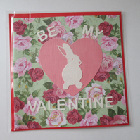 Valentine's Day Bunny Rabbit Valentine Card Love Heart Hand Crafted Rose