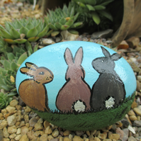 Painted Rock Stone Bunny Rabbit Pet Stone Pet Painting Picture Art
