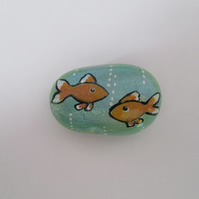 Fish Painted Pebble Rock Stone Original Art Painting Picture Goldfish Sea Scene