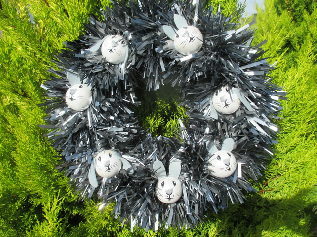 Christmas Wreath Tinsel with Bunny Rabbit Hand Painted Bauble Heads monochrome