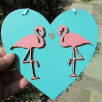 Flamingo Hanging Decoration Wood Wooden Love Heart Pink Bird with Glitter