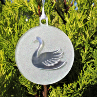 Swan Christmas Tree Bauble Hanging Decoration Silver White Glitter Twinkly