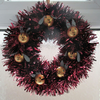 Christmas Wreath Tinsel with Bunny Rabbit Hand Painted Bauble Heads Maroon Gold