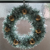 Christmas Wreath Tinsel with Guinea Pig Hand Painted Bauble Heads