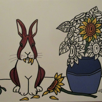 A5 Print of Dutch Bunny Rabbit Vase of Sunflowers Art Picture Limited Edition