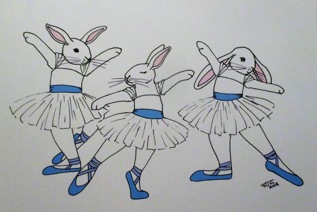 A5 Print of Bunny Rabbit Ballet Dancers Ballerinas Art Picture Limited Edition